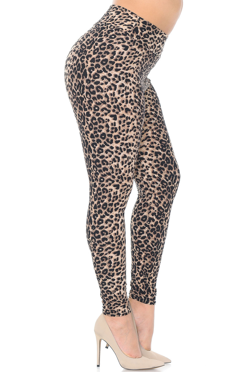 Right side view of Buttery Soft Feral Cheetah Plus Size High Waisted Leggings