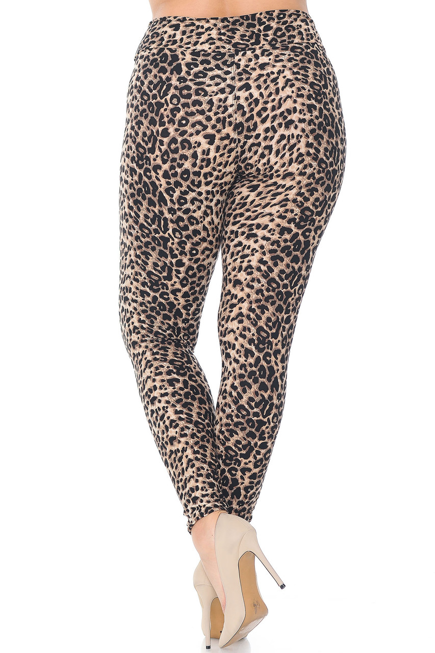 Back view of Buttery Soft Feral Cheetah Plus Size High Waisted Leggings with a figure flattering body hugging fit.