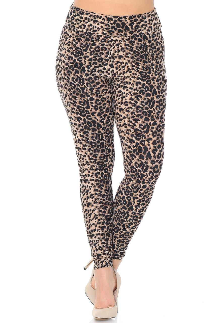 Front view of full length Buttery Soft Feral Cheetah Plus Size High Waisted Leggings
