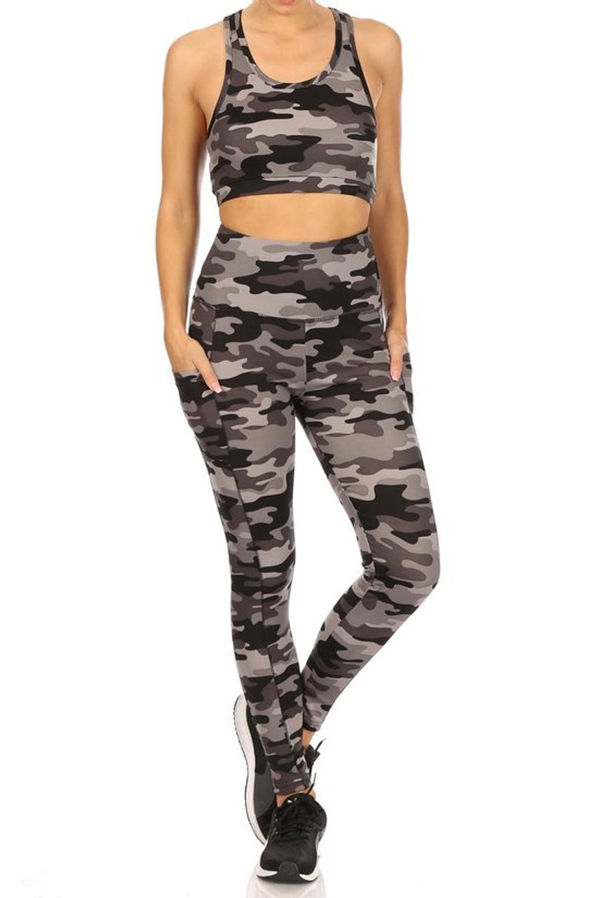 Front view of 2 Piece Charcoal Camouflage Crop Top and Legging Set