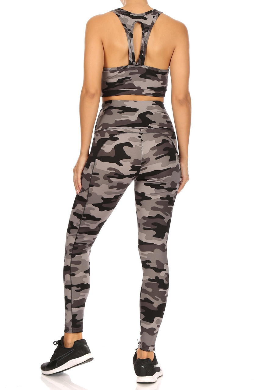 Back view of 2 Piece Charcoal Camouflage Crop Top and Legging Set