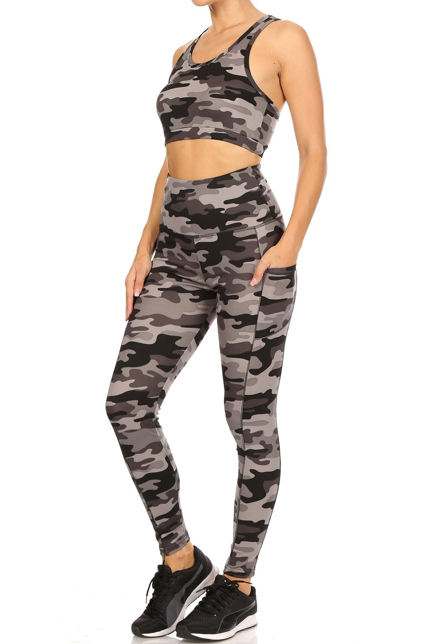 Left side view of 2 Piece Charcoal Camouflage Crop Top and Legging Set