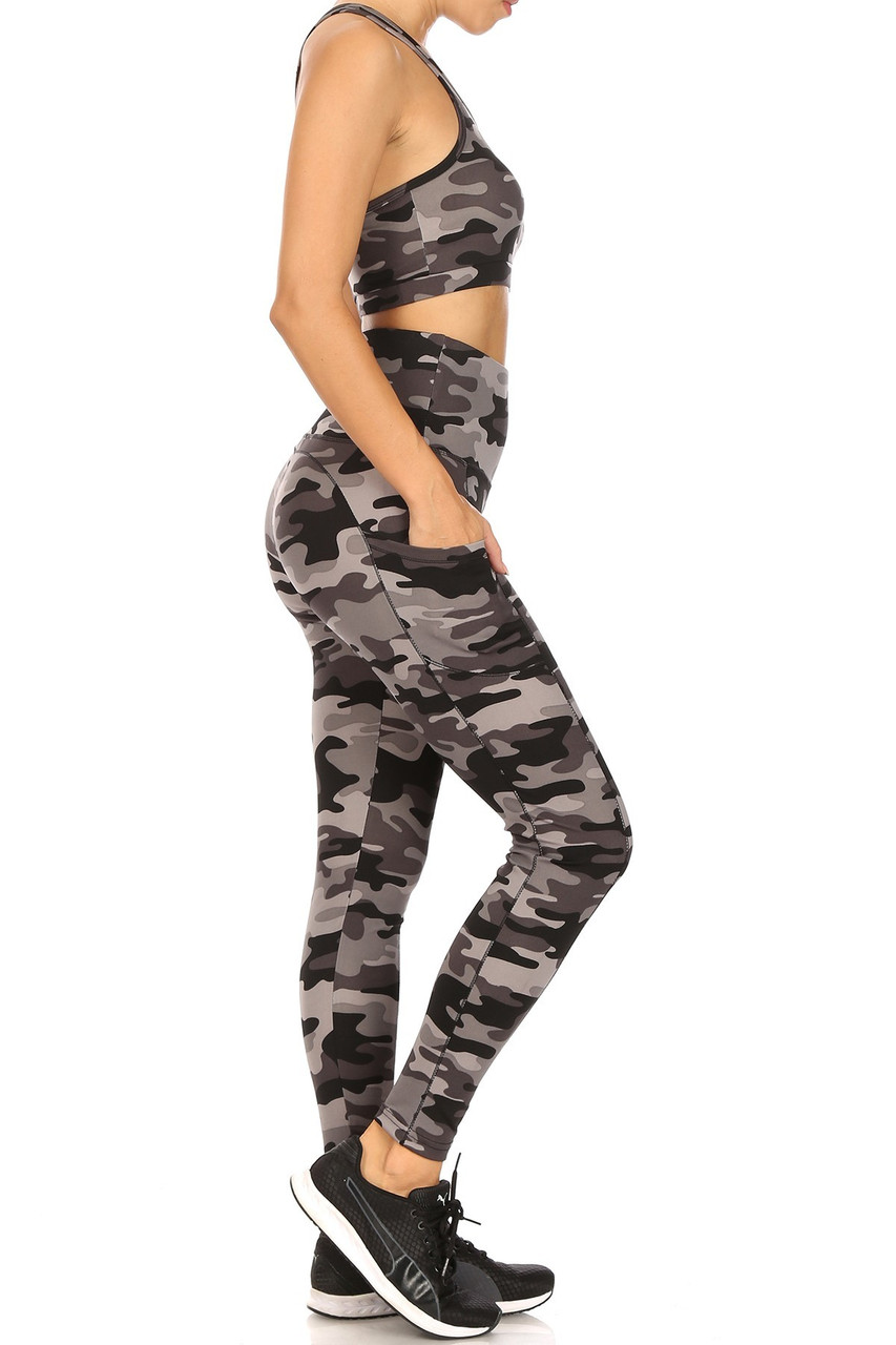 Right side view of 2 Piece Charcoal Camouflage Crop Top and Legging Set
