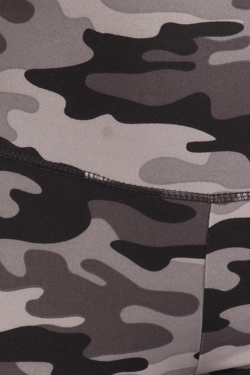 Close up swatch of 2 Piece Charcoal Camouflage Crop Top and Legging Set
