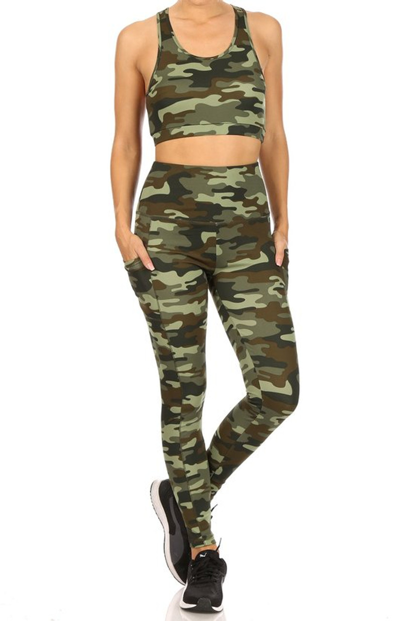 Front view of 2 Piece Green Camouflage Crop Top and Legging Set