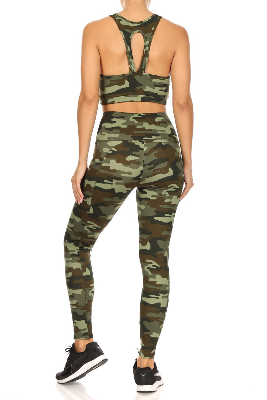 Rear view of 2 Piece Green Camouflage Crop Top and Legging Set
