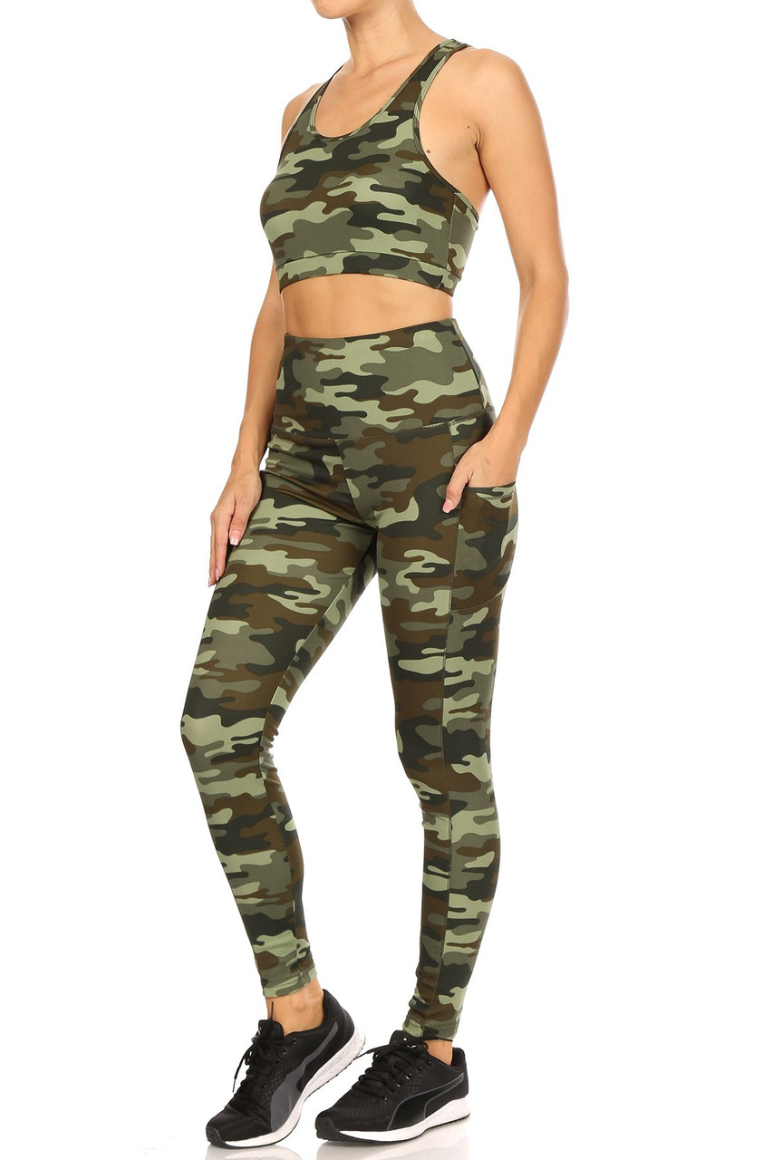 Left side view of 2 Piece Green Camouflage Crop Top and Legging Set