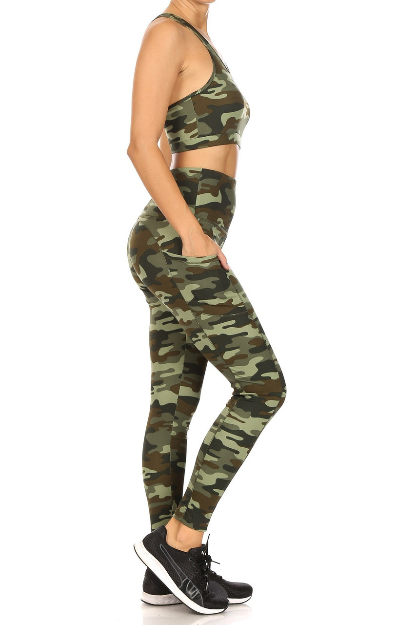 Right side view of 2 Piece Green Camouflage Crop Top and Legging Set