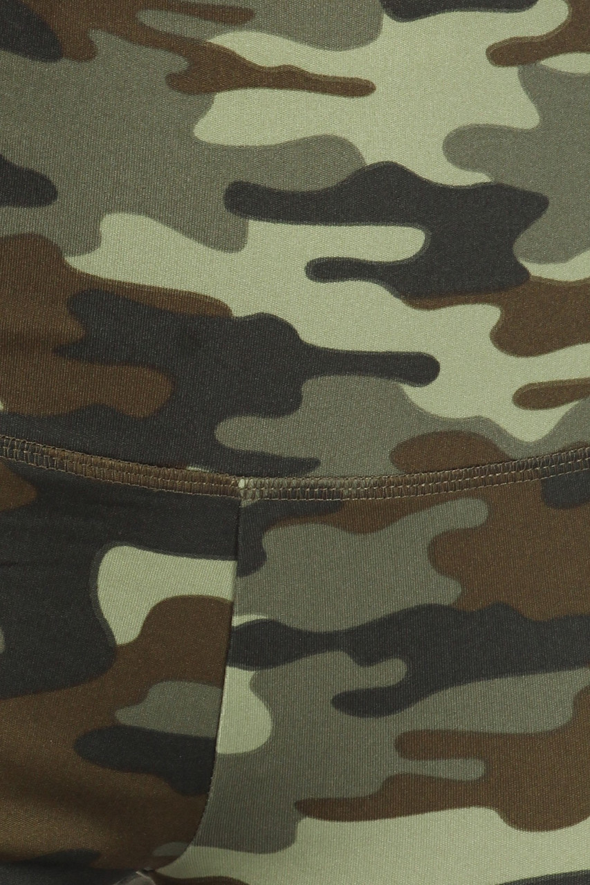 Close up swatch of 2 Piece Green Camouflage Crop Top and Legging Set