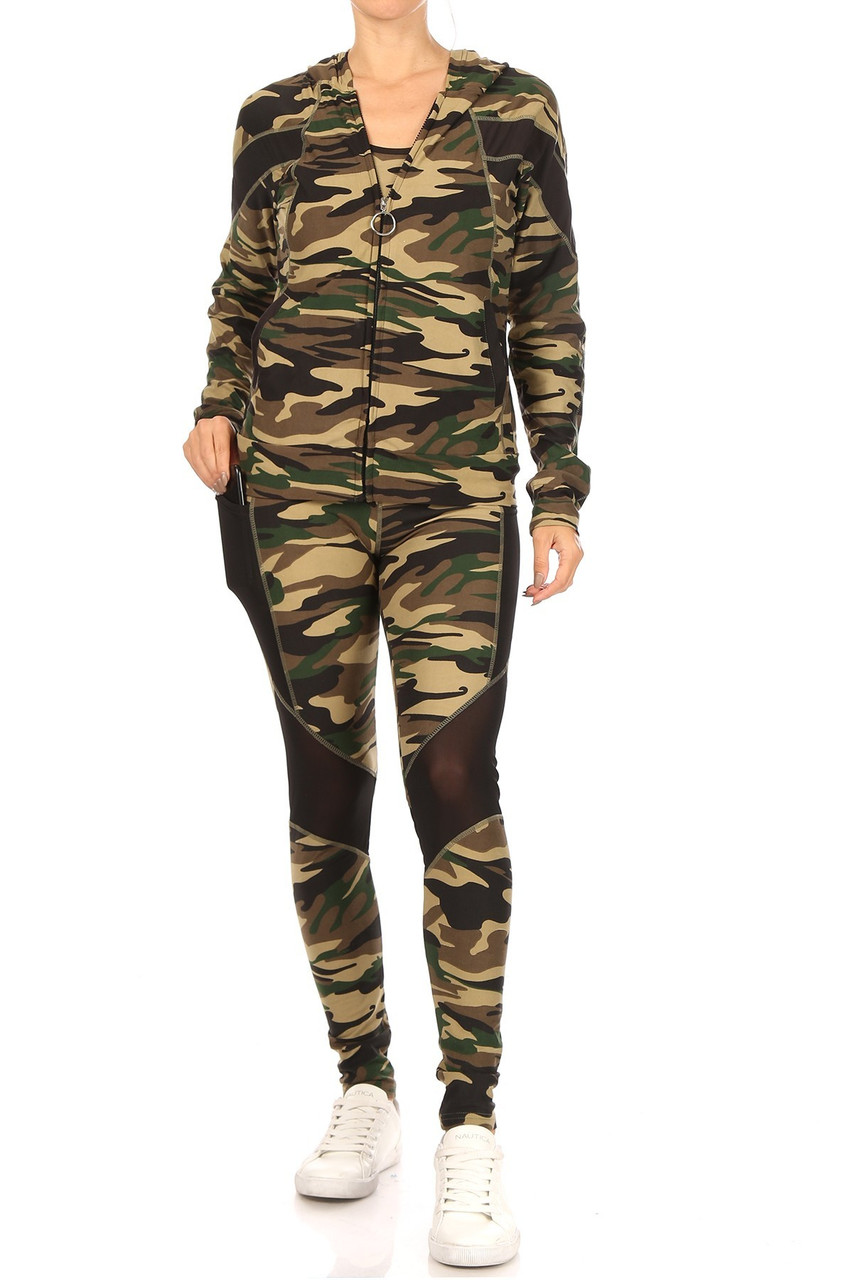 Front view of 3 Piece Green Camouflage Mesh Mix Leggings Crop Top and Hooded Jacket Set with a classic brown and olive all over camo design