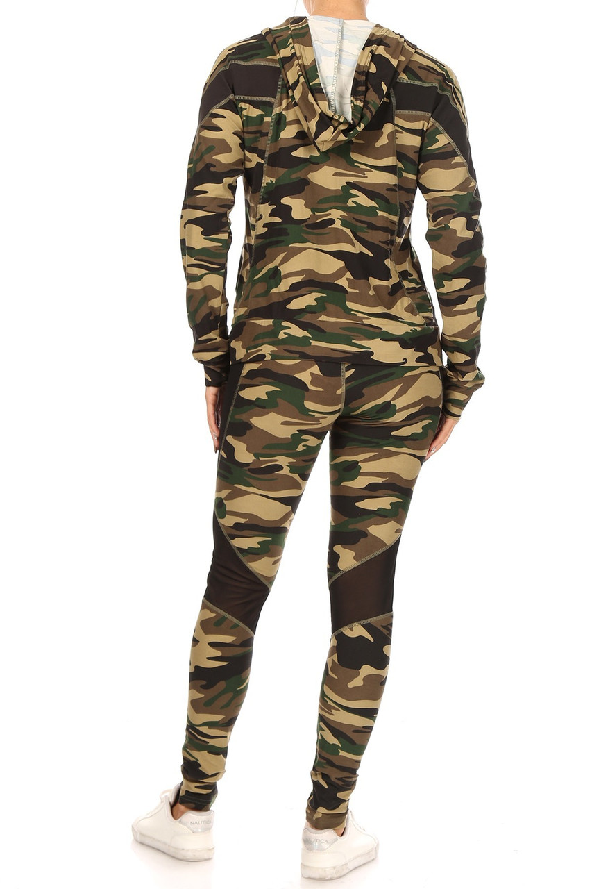 Rear view of 3 Piece Green Camouflage Mesh Mix Leggings Crop Top and Hooded Jacket Set