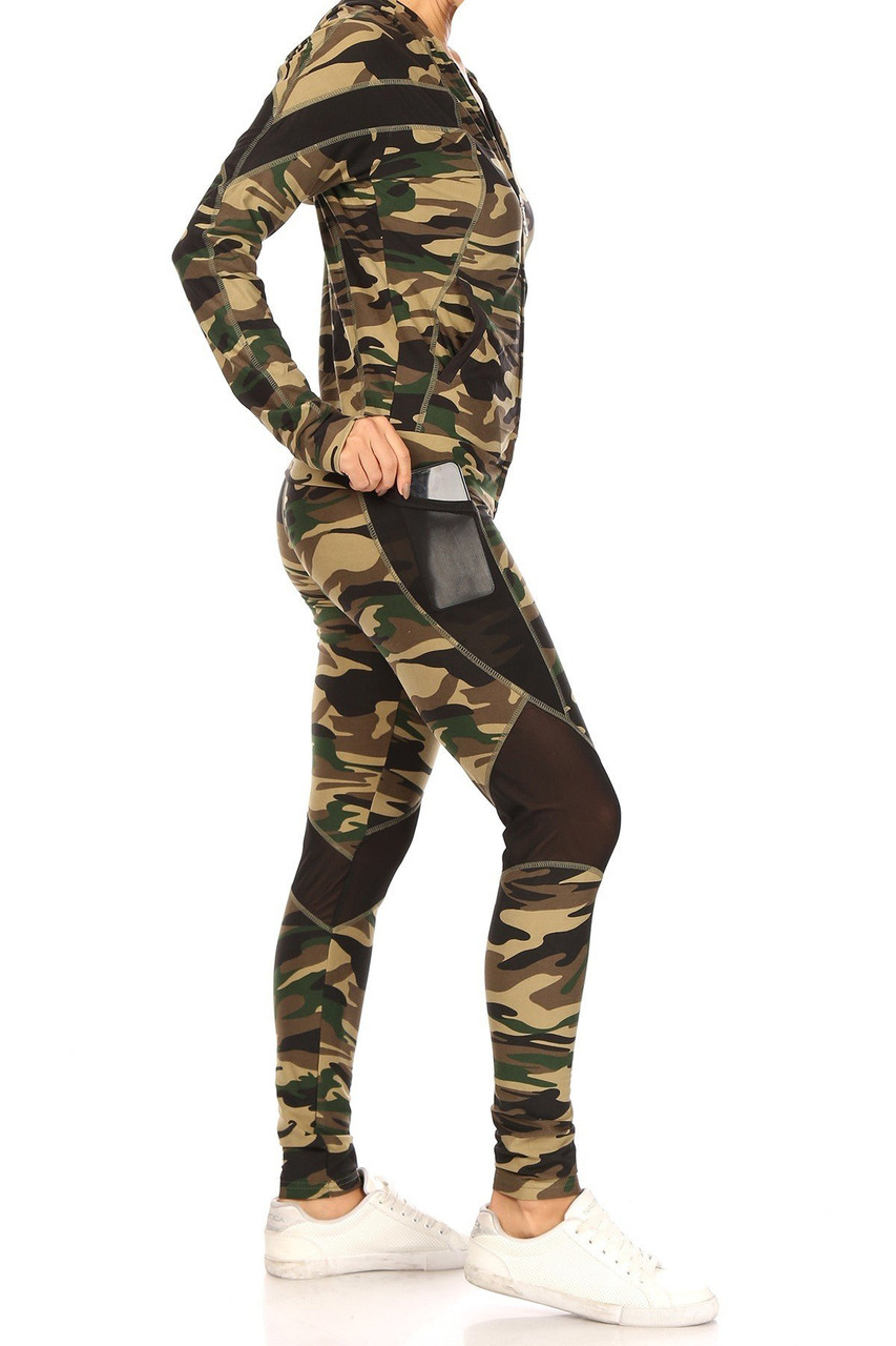 Right side view of 3 Piece Green Camouflage Mesh Mix Leggings Crop Top and Hooded Jacket Set