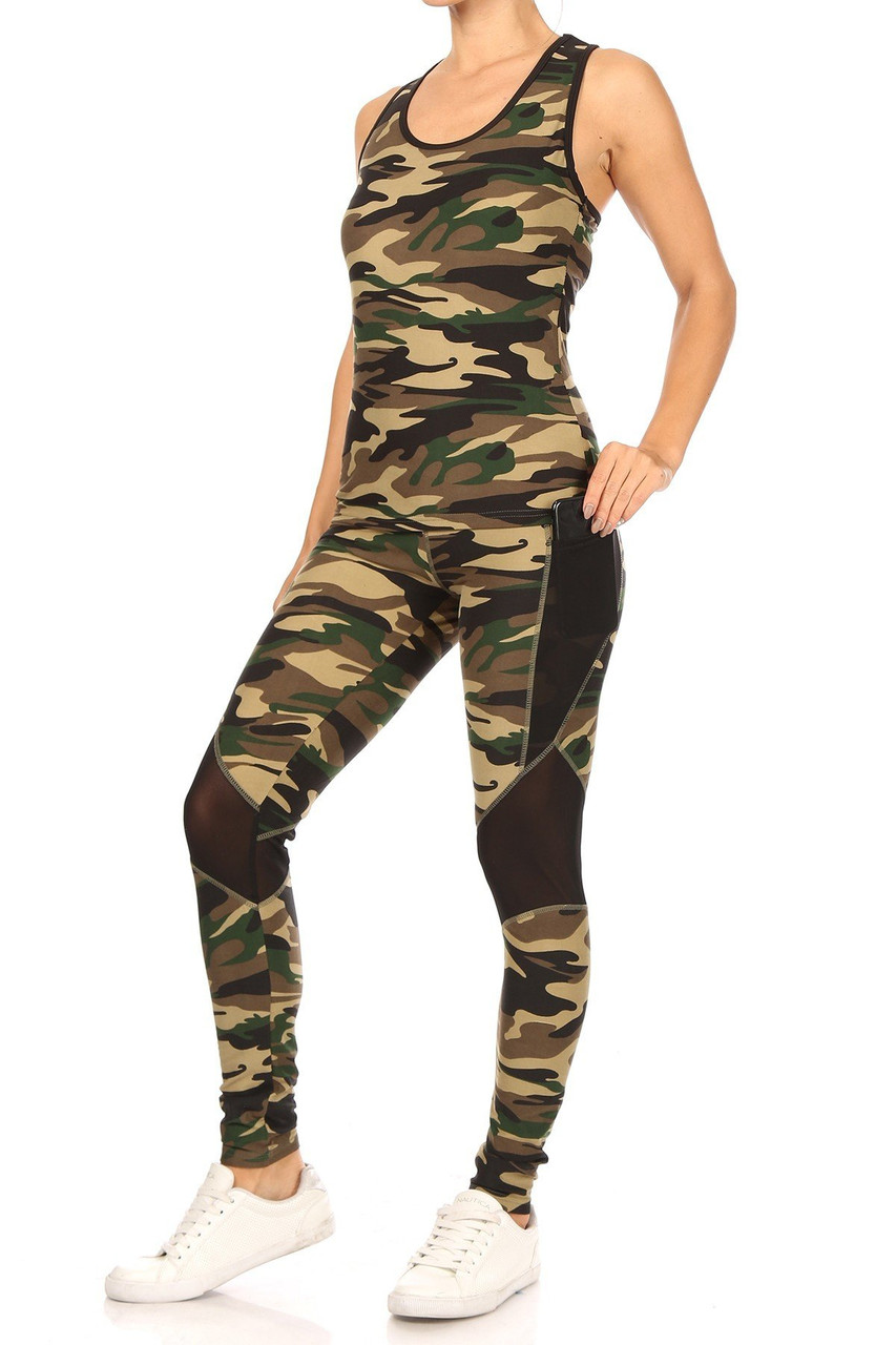 Left side view showing tank and leggings from 3 Piece Green Camouflage Mesh Mix Leggings Crop Top and Hooded Jacket Set
