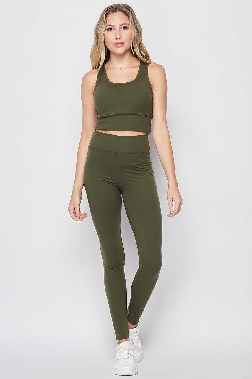 Front view of Olive Buttery Soft High Waisted 3 Inch Leggings and Crop Top Bra Set