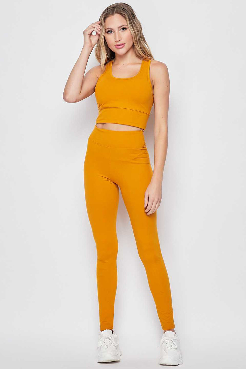 Front view of Mustard Buttery Soft High Waisted 3 Inch Leggings and Crop Top Bra Set