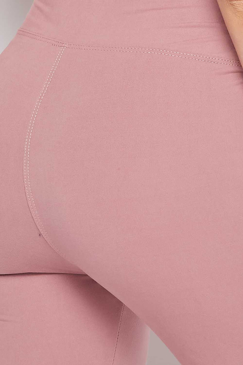 Close up of Mauve Buttery Soft High Waisted 3 Inch Leggings and Crop Top Bra Set