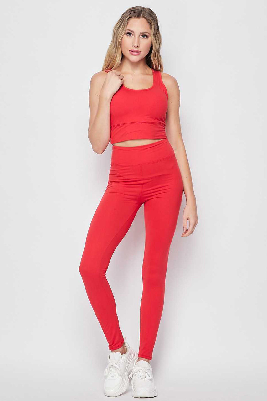 Front view of Red Buttery Soft High Waisted 3 Inch Leggings and Crop Top Bra Set