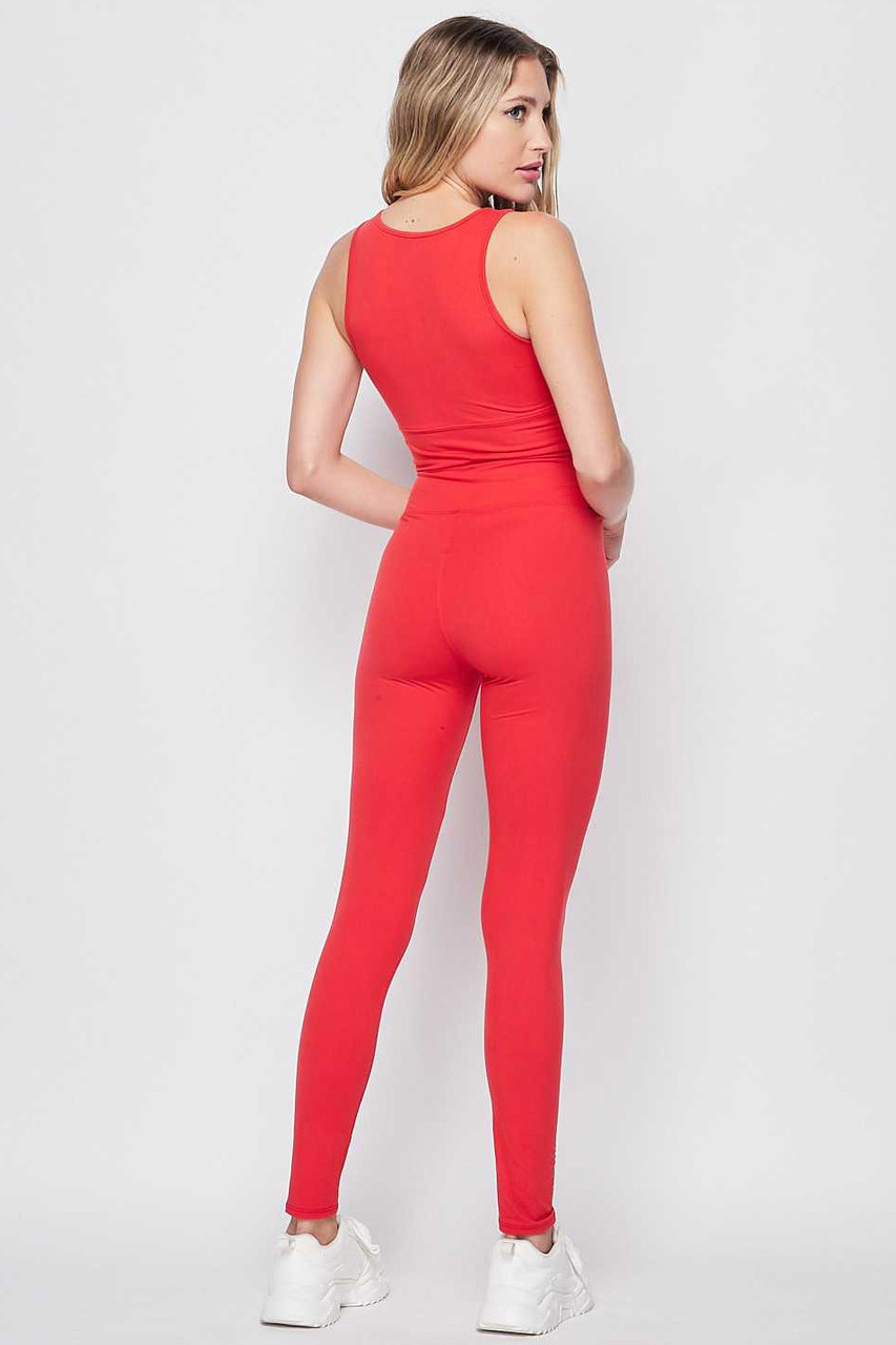 45 degree rear view of Red Buttery Soft High Waisted 3 Inch Leggings and Crop Top Bra Set