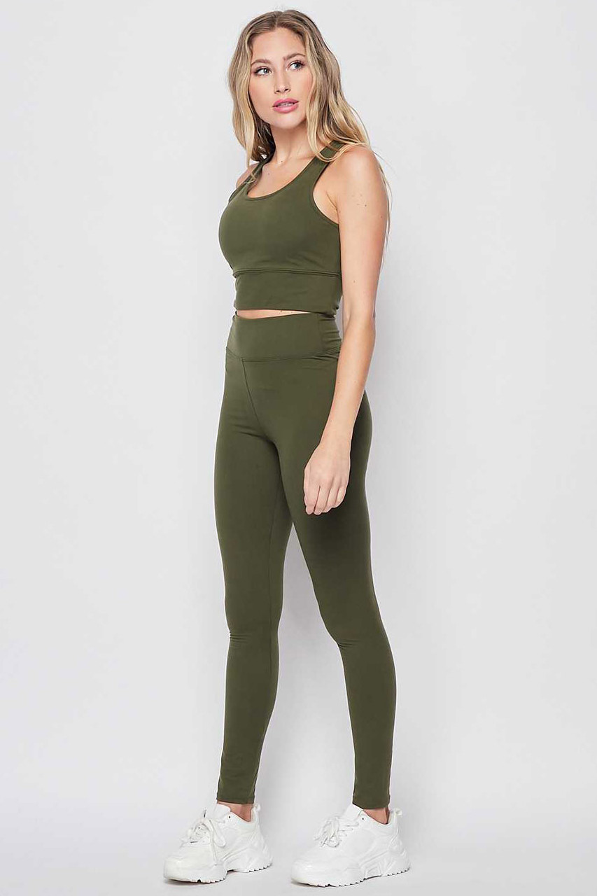 Left side view of Olive Buttery Soft High Waisted 3 Inch Leggings and Crop Top Bra Set