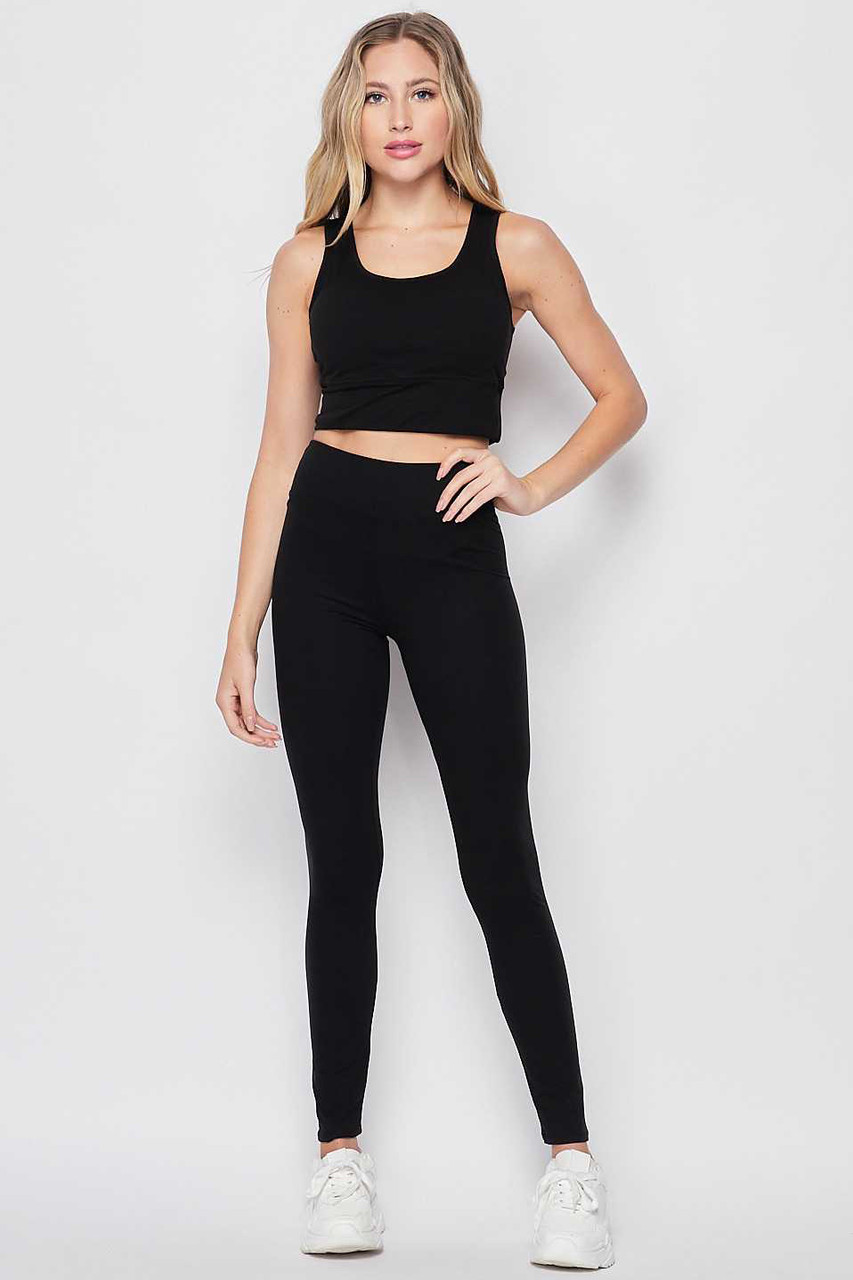 Front view of Black Buttery Soft High Waisted 3 Inch Leggings and Crop Top Bra Set