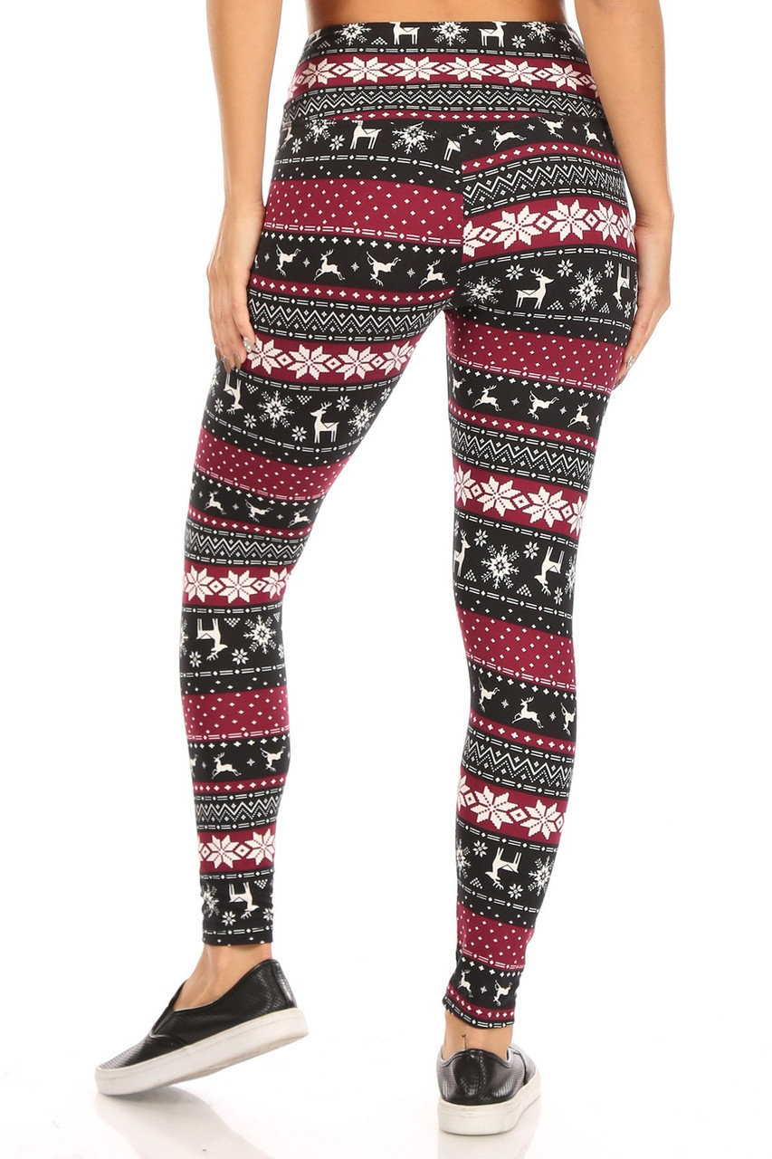 Rear view of Soft Fleece Beautiful Burgundy Reindeer and Snowflake Leggings with a high rise fabric waist.