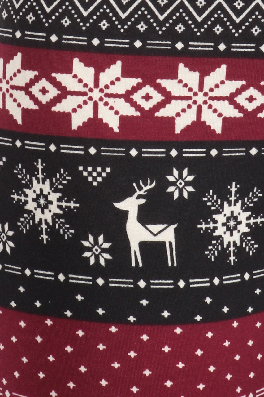 Close u fabric swatch image of Soft Fleece Beautiful Burgundy Reindeer and Snowflake Leggings