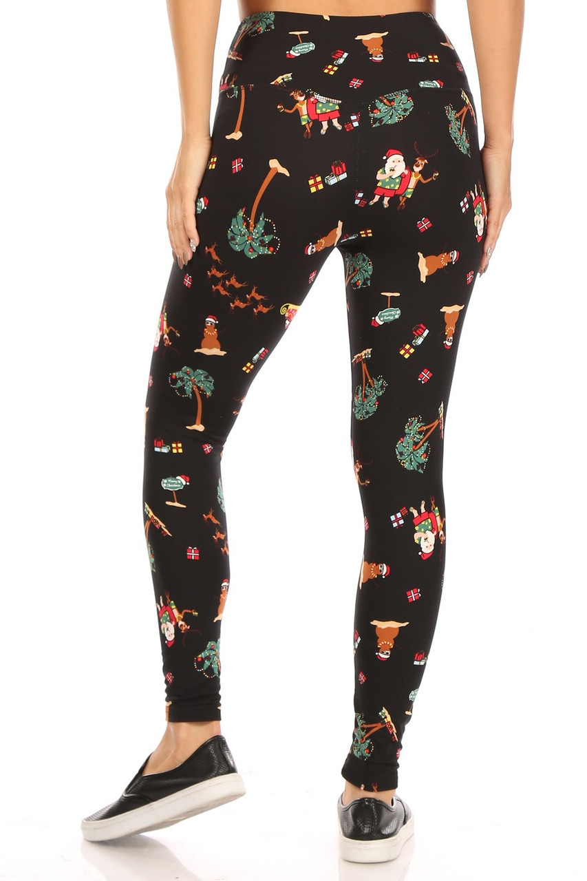 Rear view of fitted Soft Fleece Australian Christmas Leggings with a high fabric waist.