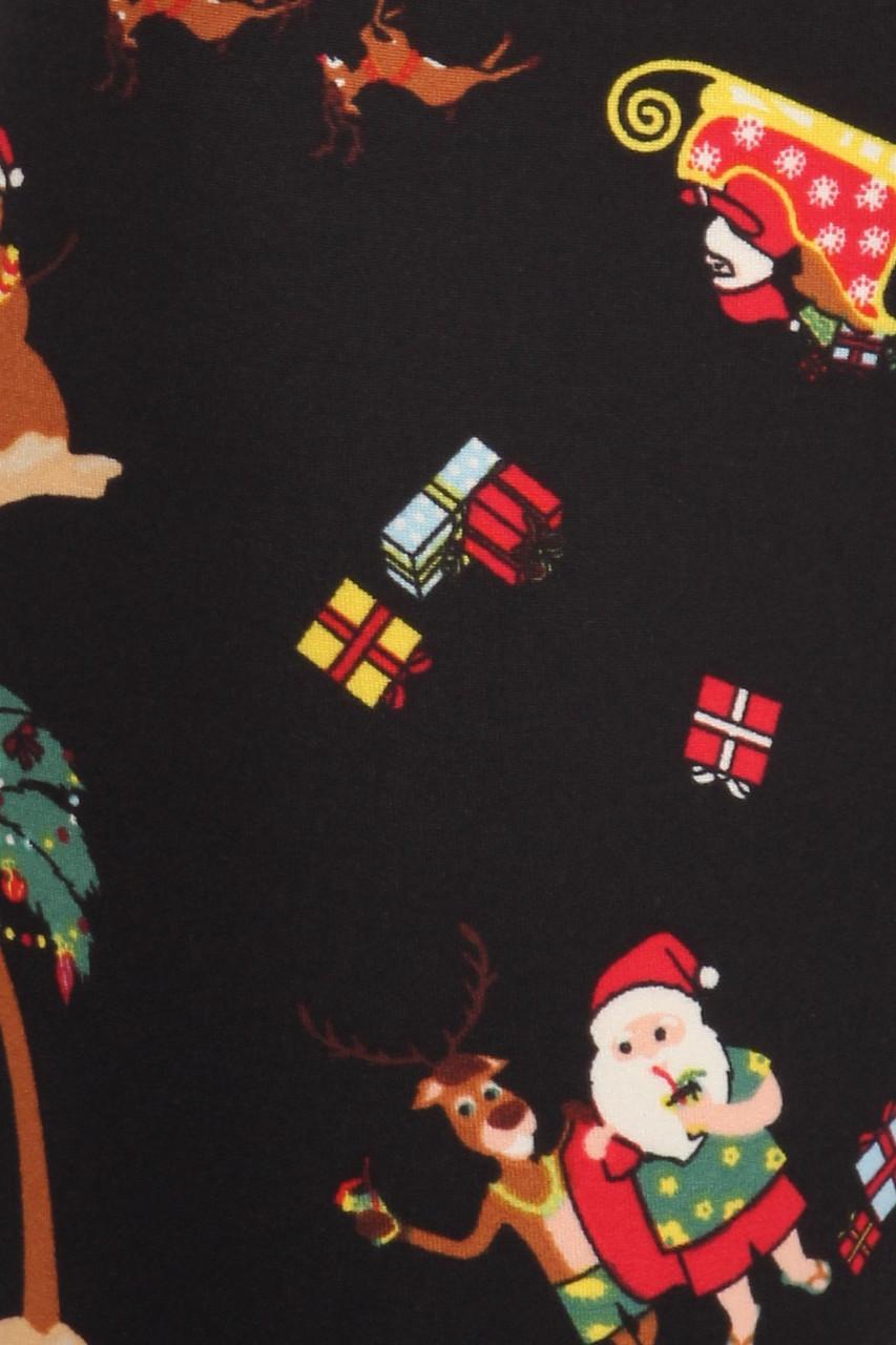 Close up fabric swatch of Soft Fleece Australian Christmas Leggings