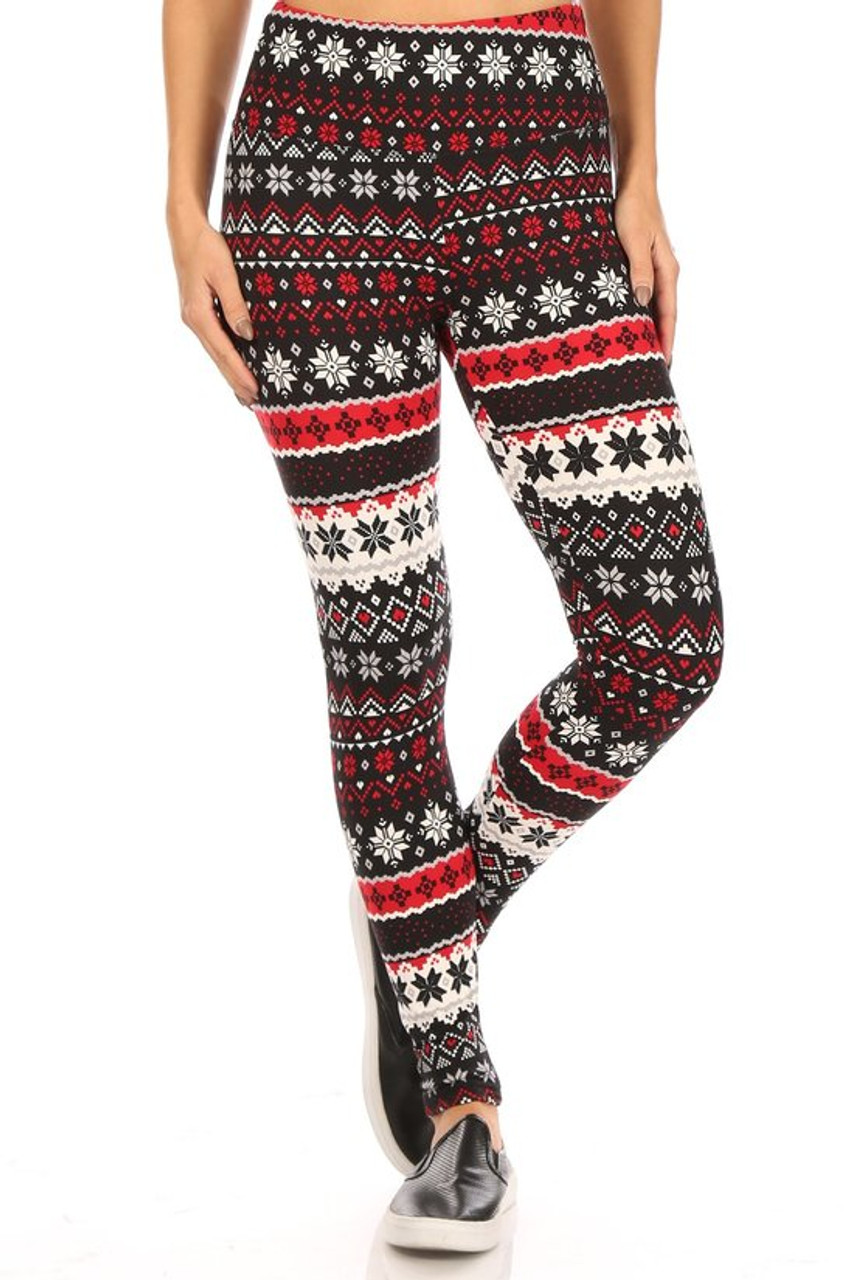 Front view of Soft Fleece Snowflake Blizzard Holiday Leggings with a fabulous festive fair isle snowflake design.
