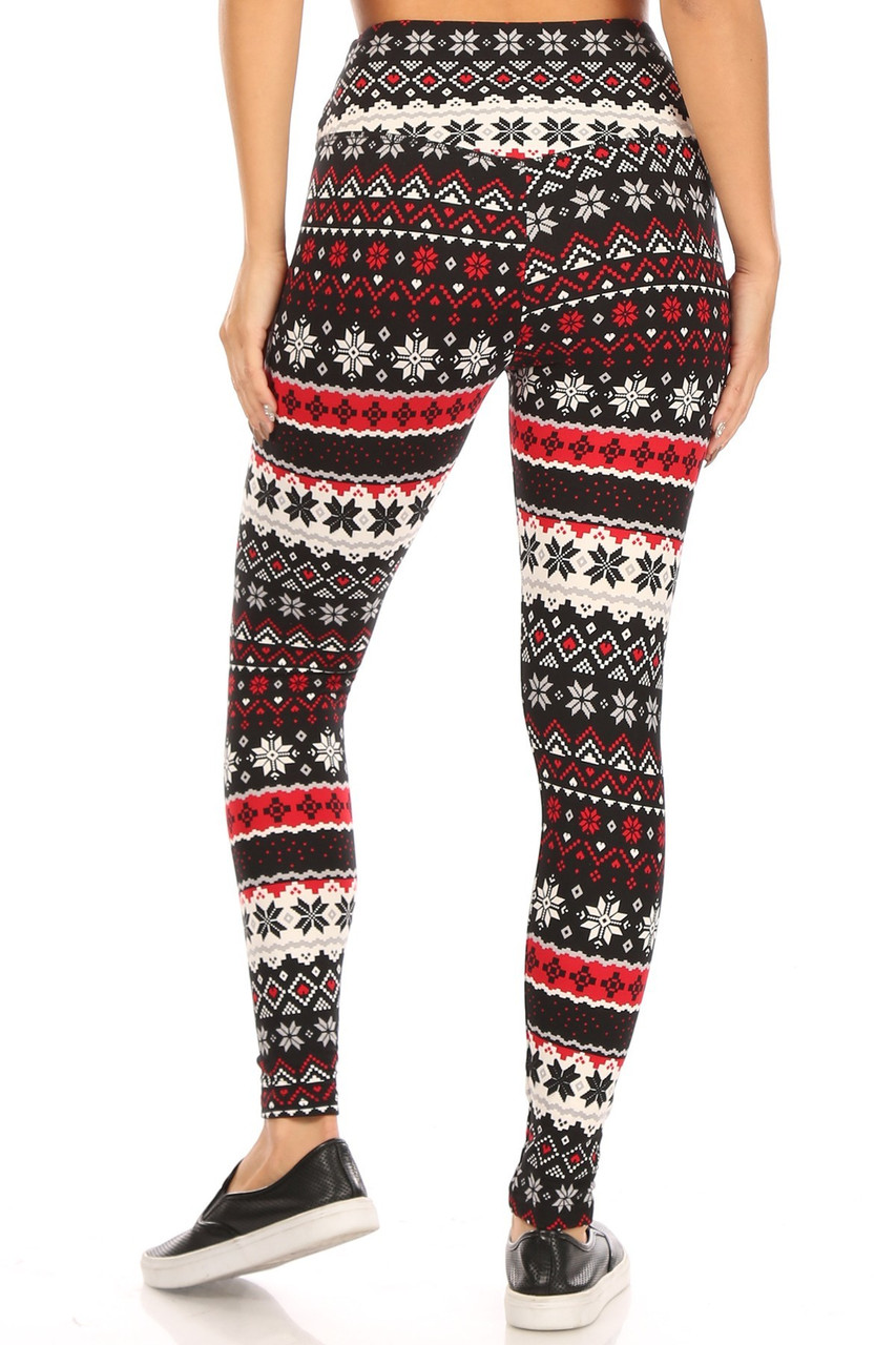 Rear view of high rise Soft Fleece Snowflake Blizzard Holiday Leggings