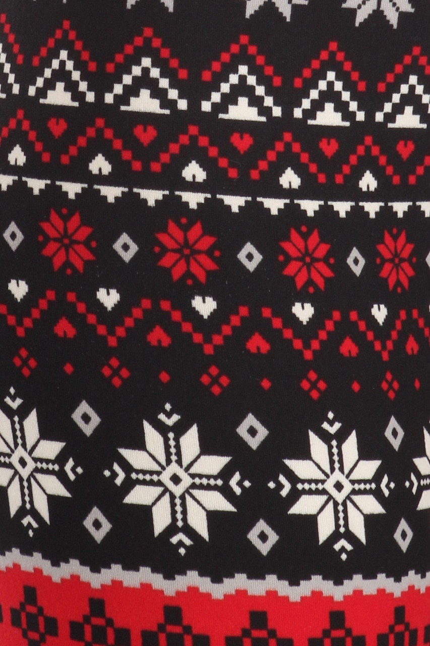 Close up fabric swatch of Soft Fleece Snowflake Blizzard Holiday Leggings