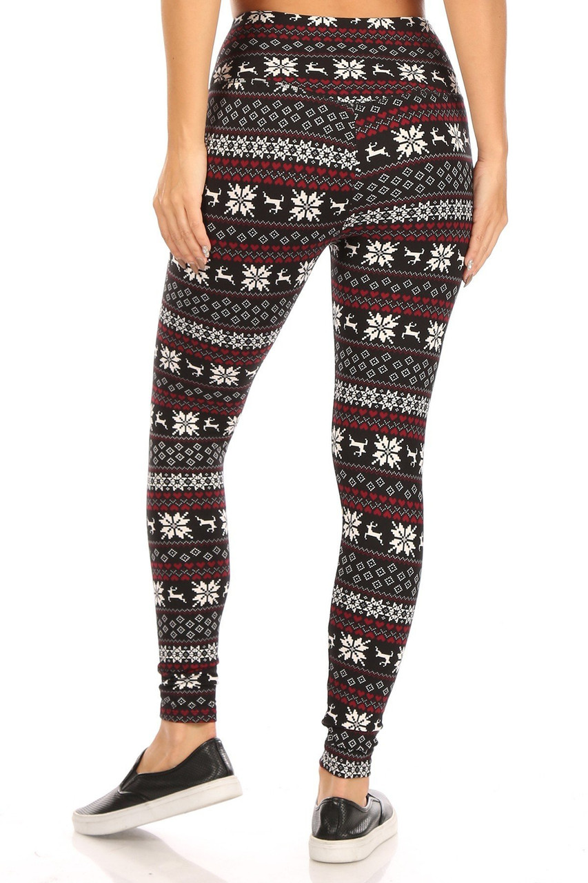 Rear view of Soft Fleece Reindeer Dashing Through the Snow Holiday Leggings with a high waist and a fabulous Christmas design.