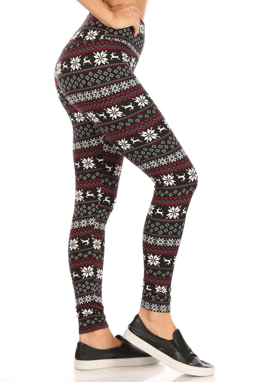 Right side view of Soft Fleece Reindeer Dashing Through the Snow Holiday Leggings