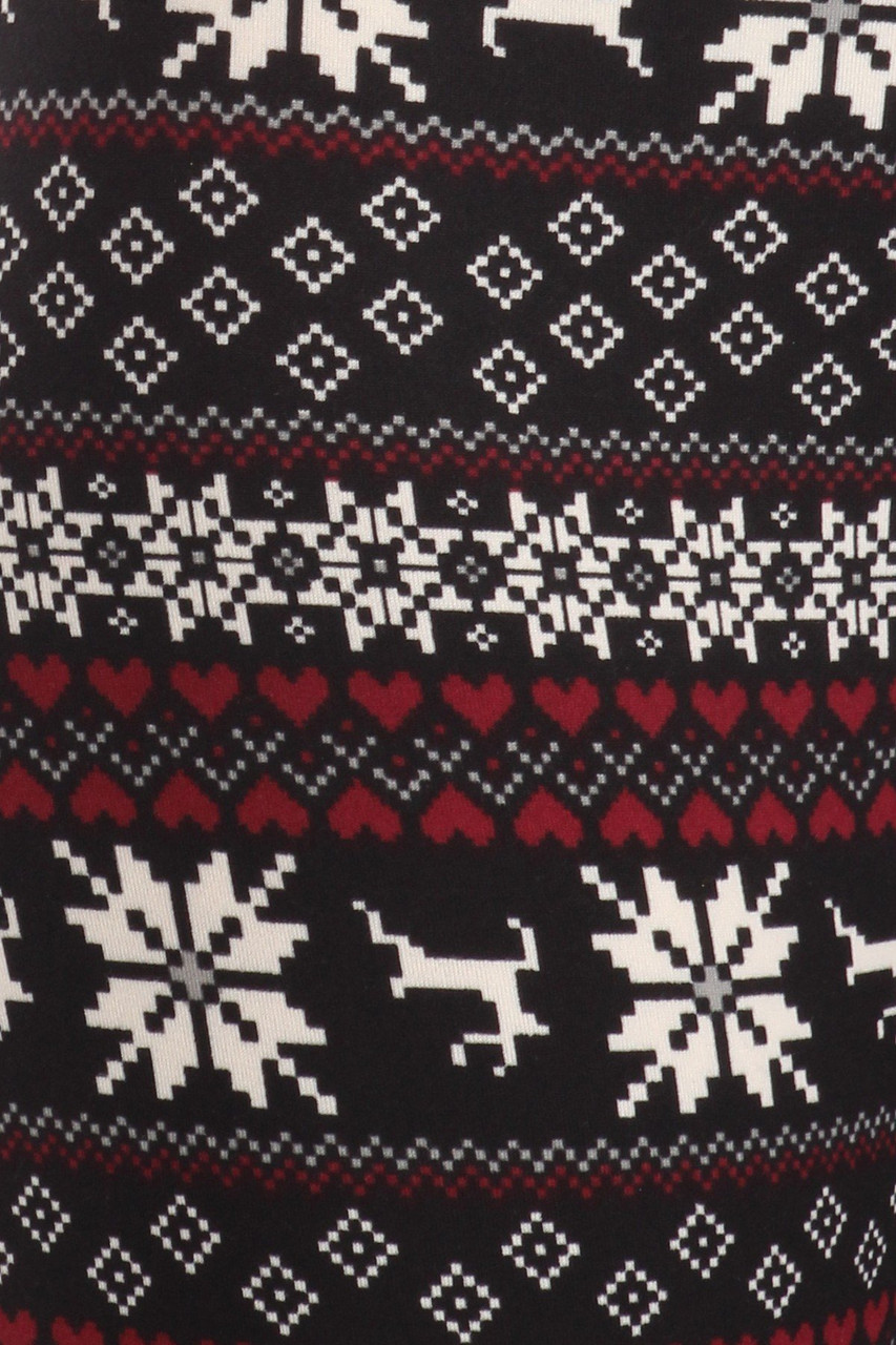 Close up fabric swatch of Soft Fleece Reindeer Dashing Through the Snow Holiday Leggings