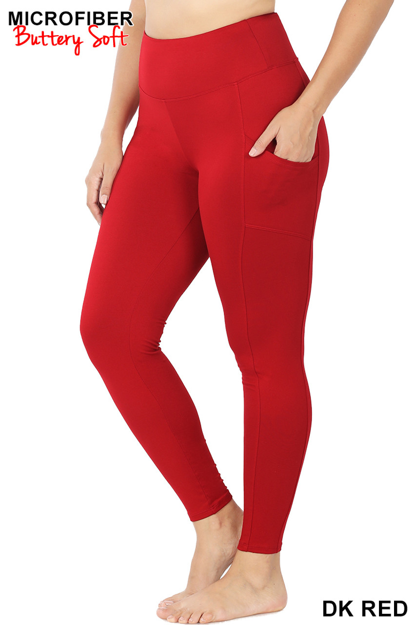 45 degree view of Dark Red Brushed Microfiber High Waisted Plus Size Sport Leggings with Side Pockets