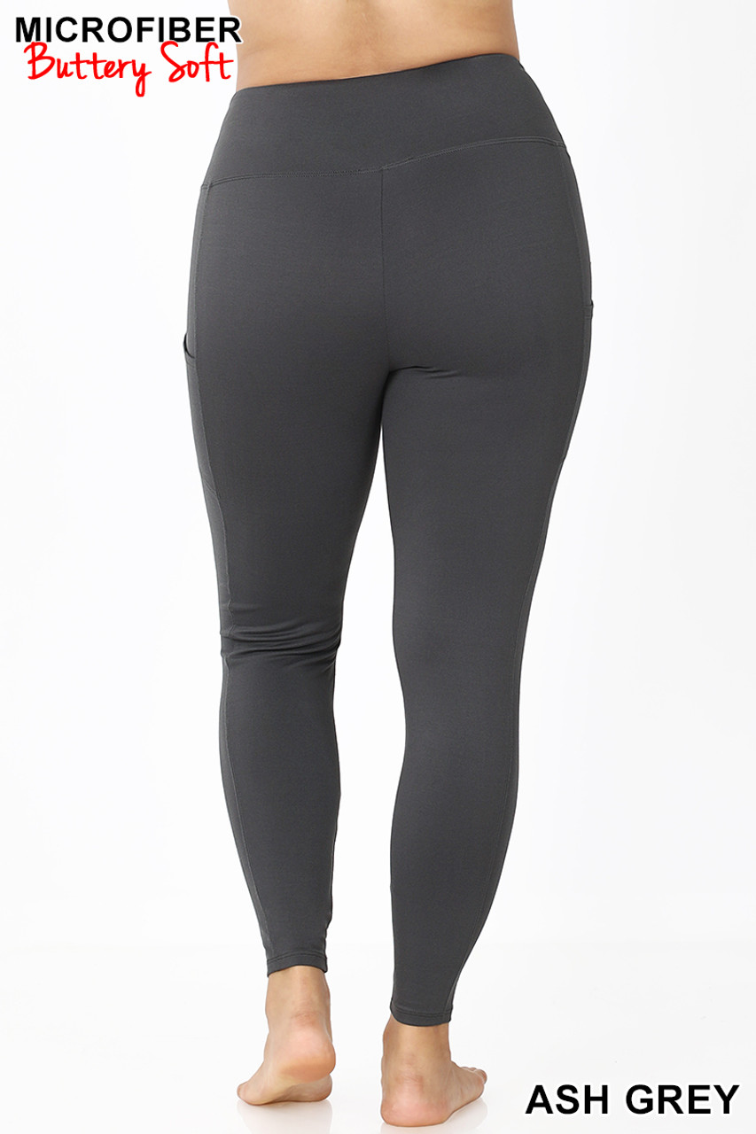 Rear view of Ash Grey Brushed Microfiber High Waisted Plus Size Sport Leggings with Side Pockets