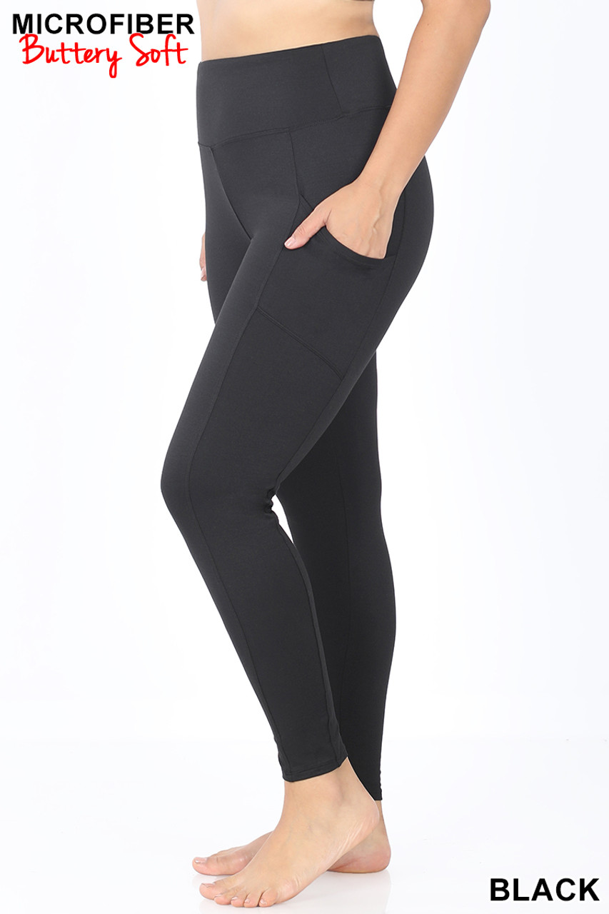 Left view of Black Brushed Microfiber High Waisted Plus Size Sport Leggings with Side Pockets