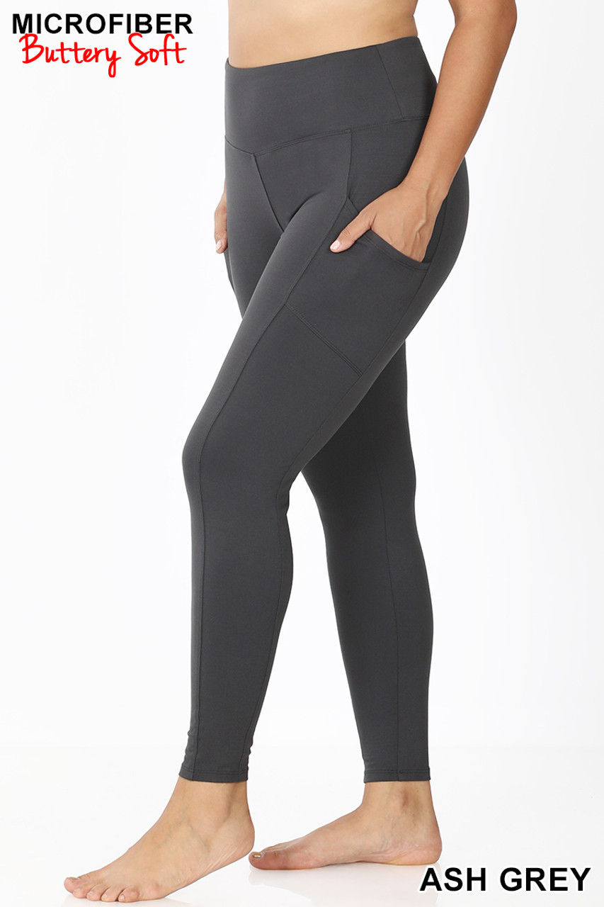 Left view of Ash Grey Brushed Microfiber High Waisted Plus Size Sport Leggings with Side Pockets