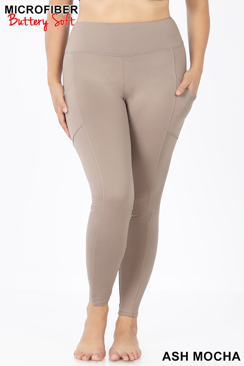 Front view of Ash Mocha Brushed Microfiber High Waisted Plus Size Sport Leggings with Side Pockets