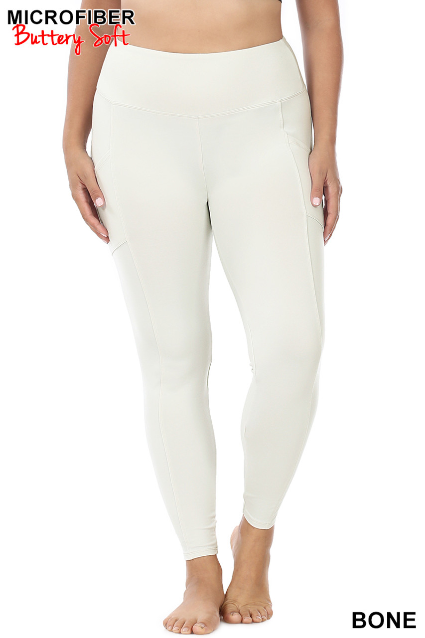 Front view of Bone Brushed Microfiber High Waisted Plus Size Sport Leggings with Side Pockets