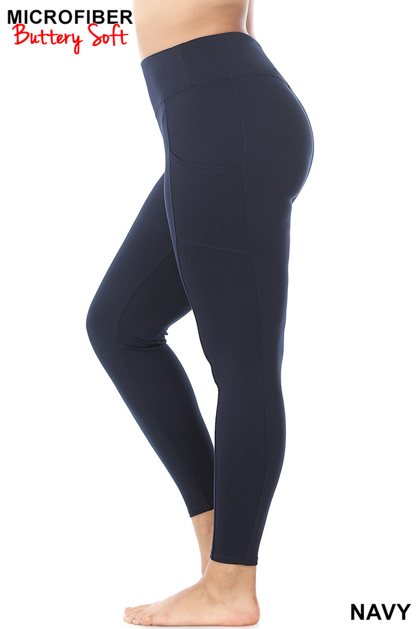 Left side view of Navy Brushed Microfiber High Waisted Plus Size Sport Leggings with Side Pockets