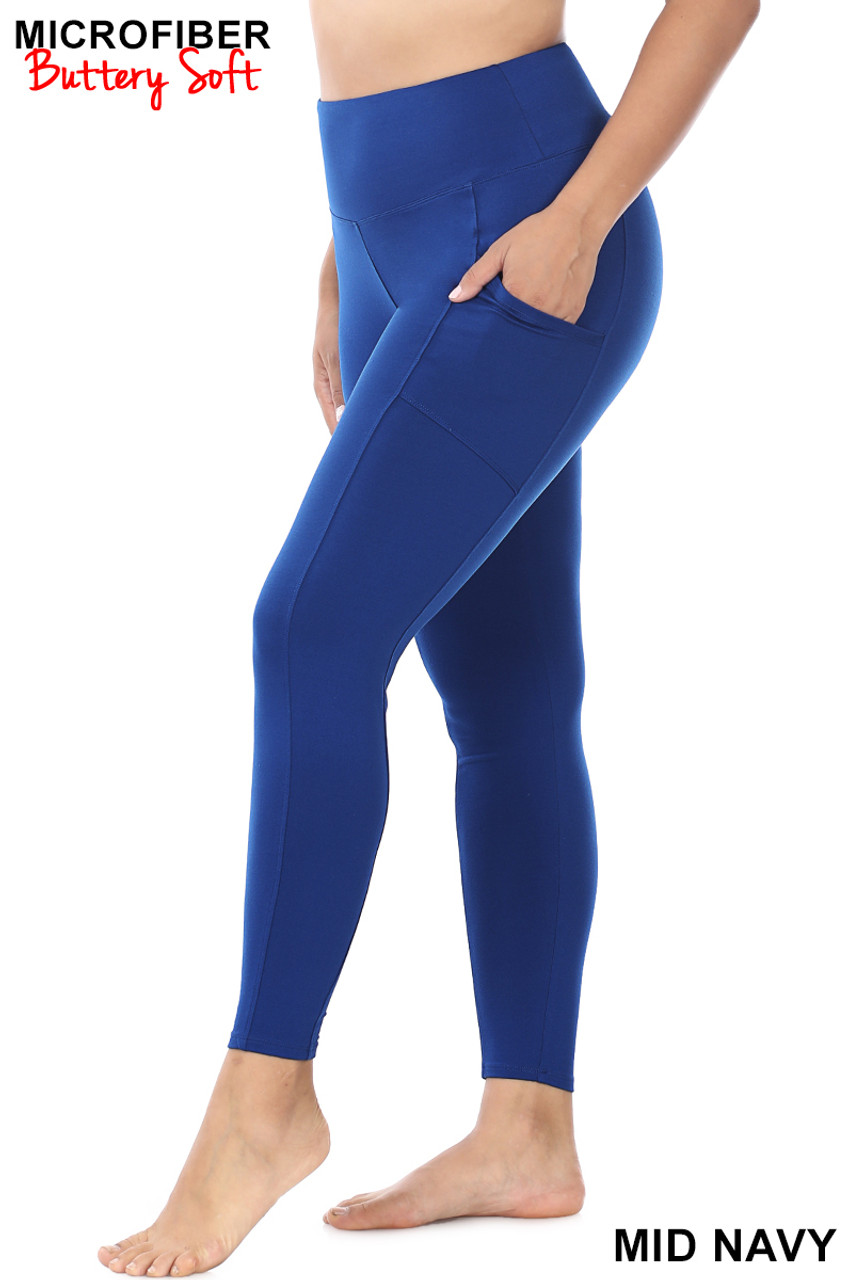 Left side view of Mid Navy Brushed Microfiber High Waisted Plus Size Sport Leggings with Side Pockets