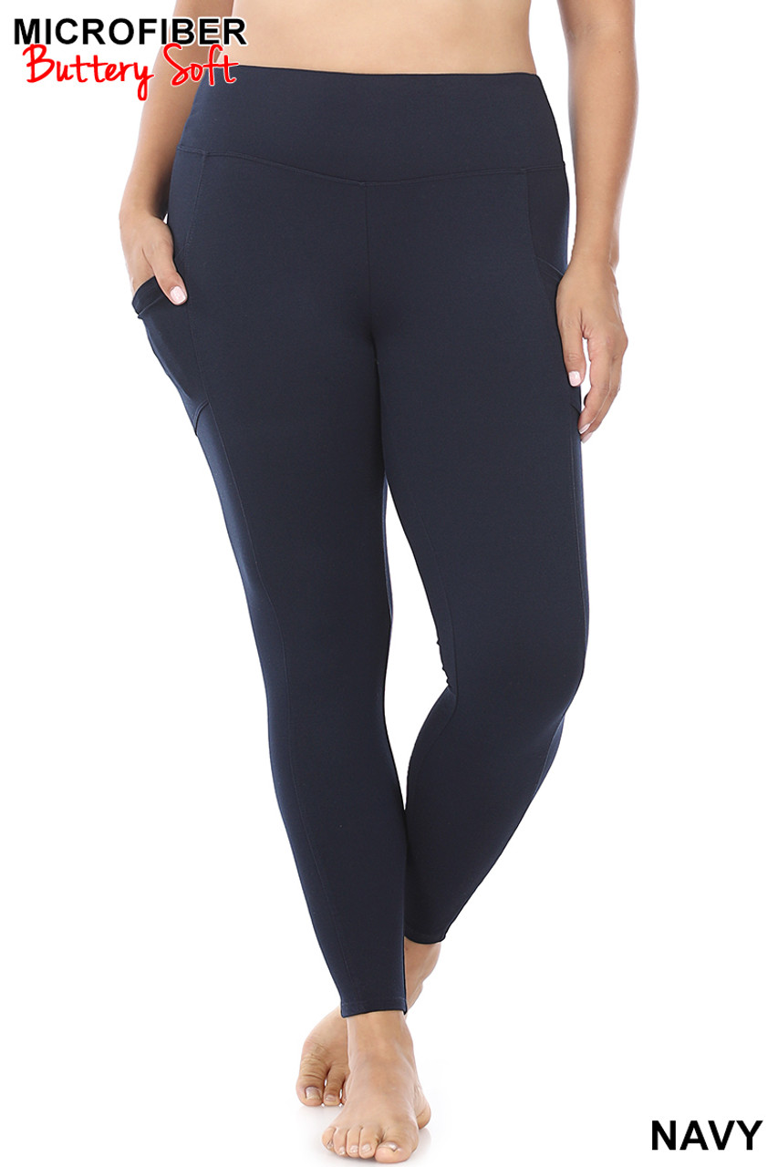 Front view of Navy Brushed Microfiber High Waisted Plus Size Sport Leggings with Side Pockets