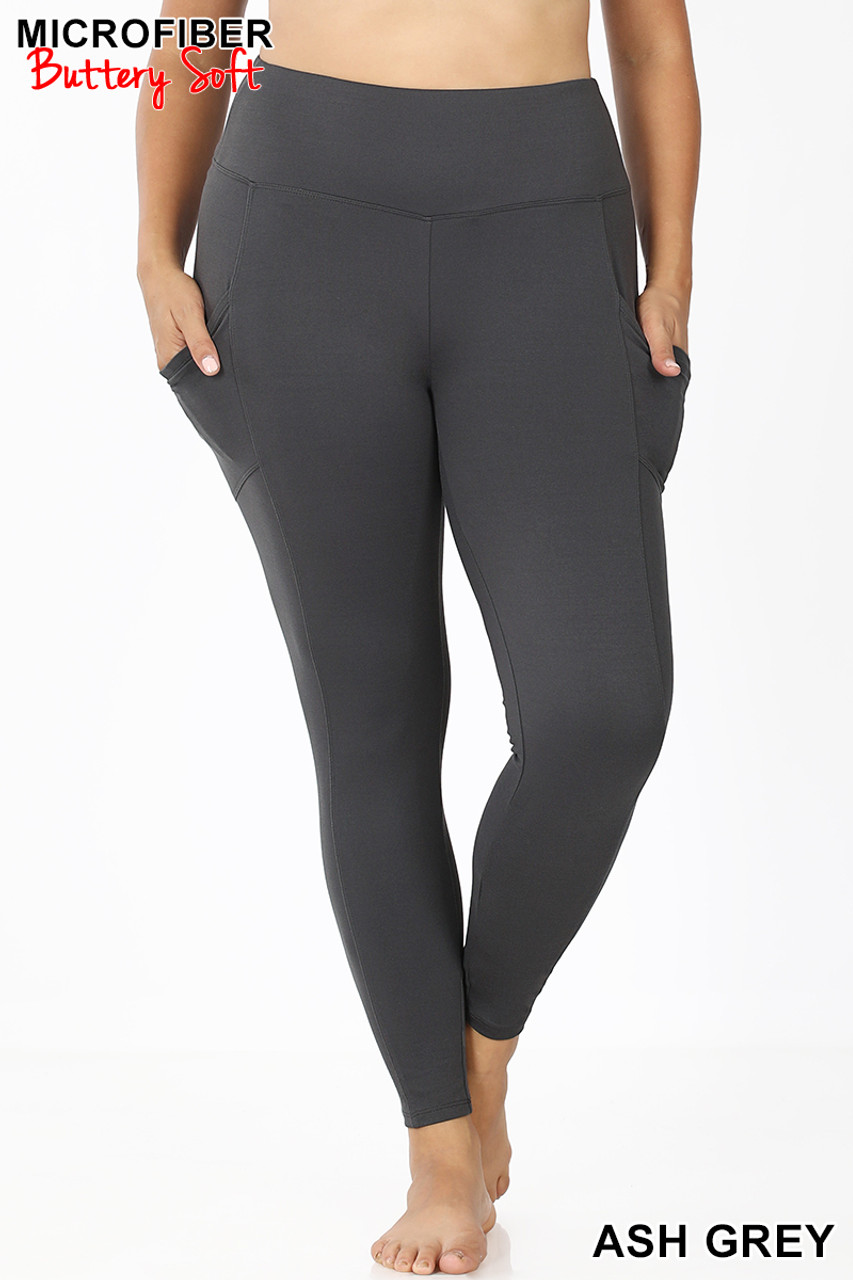 Front view of Ash Grey Brushed Microfiber High Waisted Plus Size Sport Leggings with Side Pockets