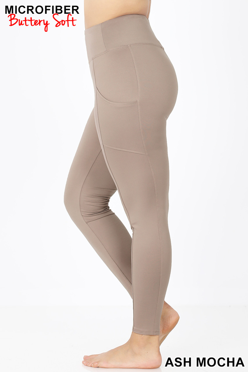 Left side view of Ash Mocha Brushed Microfiber High Waisted Plus Size Sport Leggings with Side Pockets