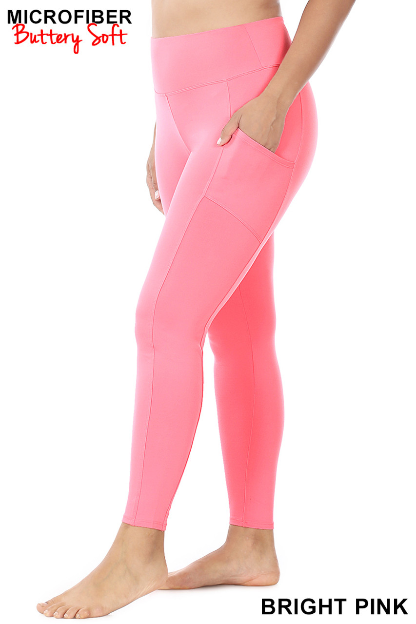 Left side view of Bright Pink Brushed Microfiber High Waisted Plus Size Sport Leggings with Side Pockets