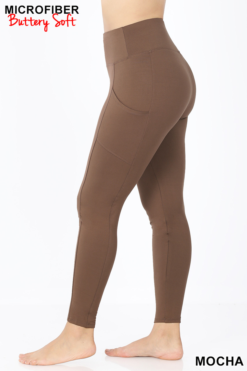 Left side view of Mocha Brushed Microfiber High Waisted Plus Size Sport Leggings with Side Pockets