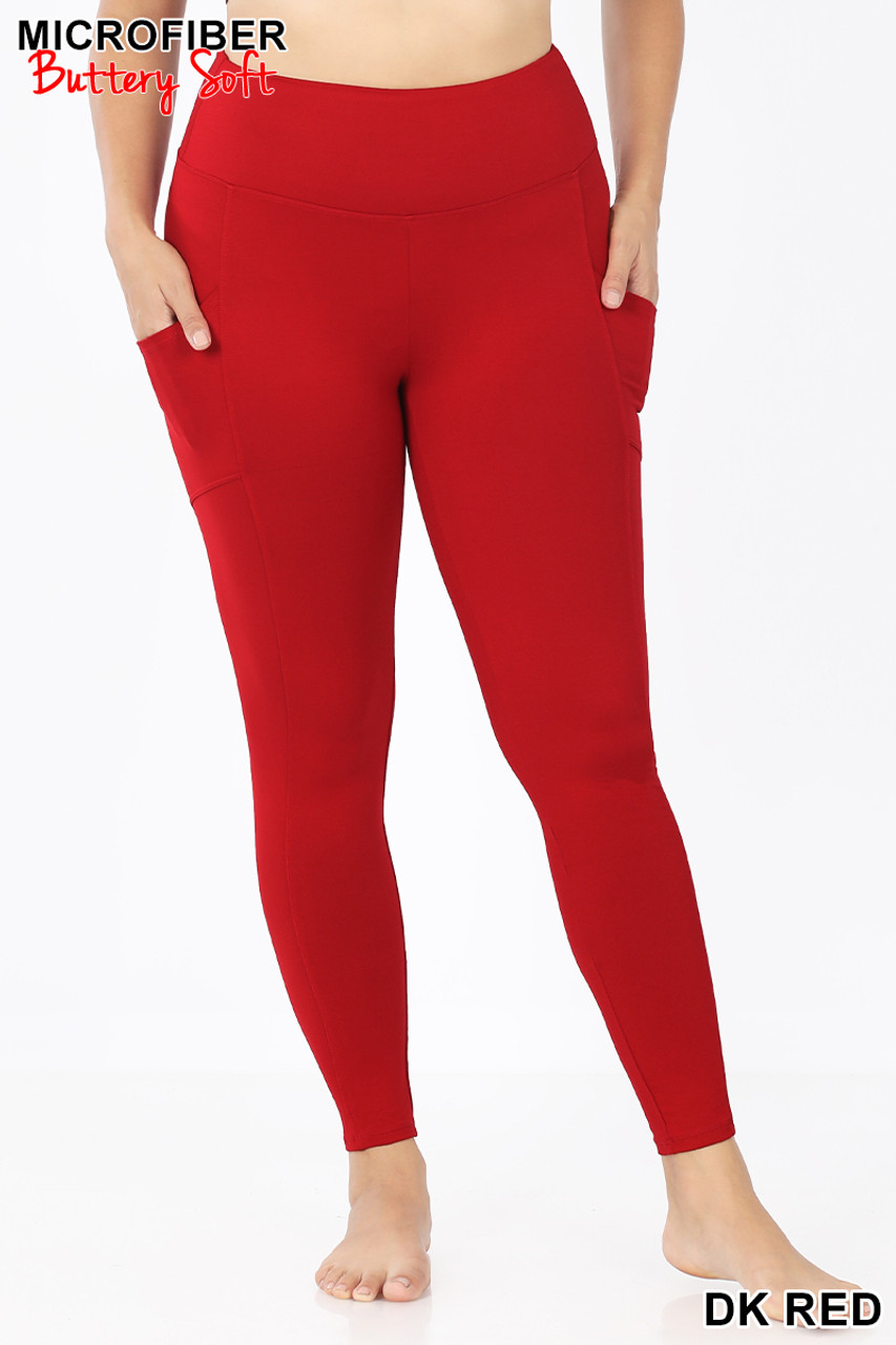Front view of Dark Red Brushed Microfiber High Waisted Plus Size Sport Leggings with Side Pockets