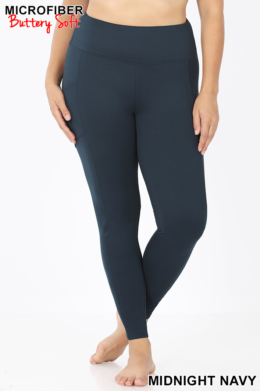 Front view of Midnight Navy Brushed Microfiber High Waisted Plus Size Sport Leggings with Side Pockets