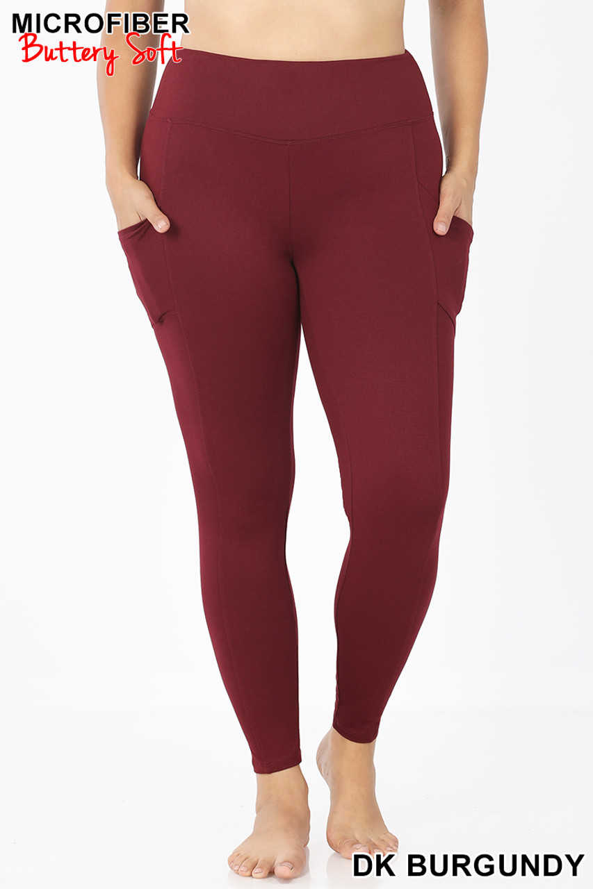 Front view of Burgundy Brushed Microfiber High Waisted Plus Size Sport Leggings with Side Pockets